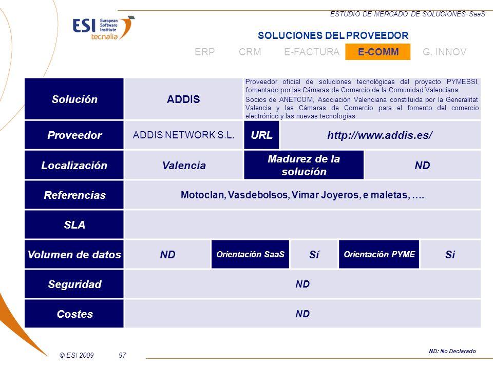 © ESI 200997 ESTUDIO DE MERCADO DE SOLUCIONES SaaS SoluciónADDIS Proveedor oficial de soluciones tecnológicas del proyecto PYMESSI, fomentado por las