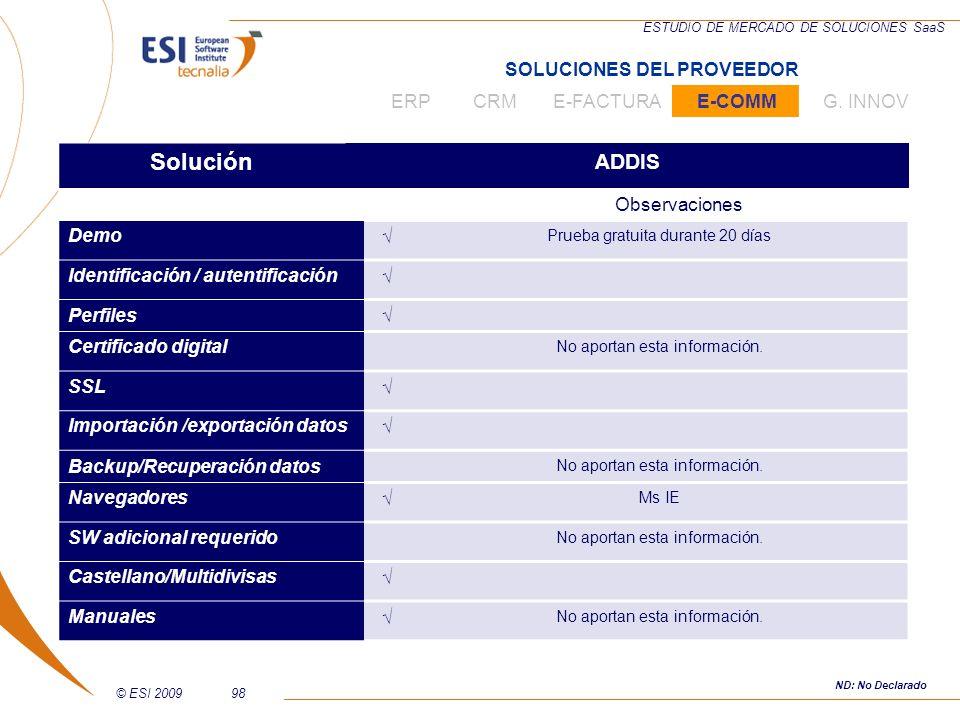 © ESI 200998 ESTUDIO DE MERCADO DE SOLUCIONES SaaS Solución ADDIS Observaciones Demo Prueba gratuita durante 20 días Identificación / autentificación