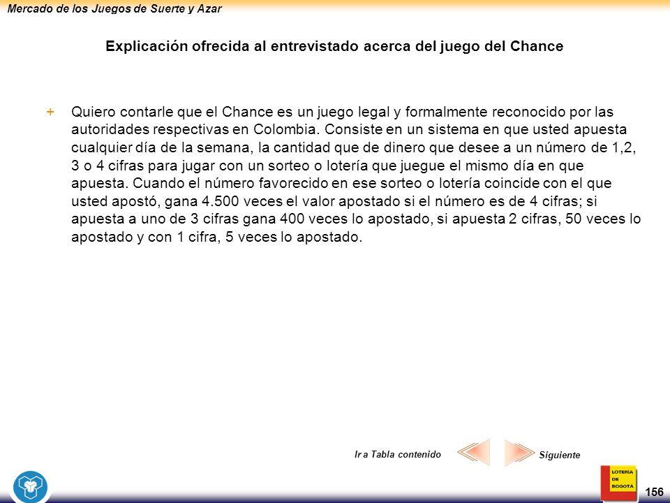 Mercado de los Juegos de Suerte y Azar 156 Explicación ofrecida al entrevistado acerca del juego del Chance +Quiero contarle que el Chance es un juego