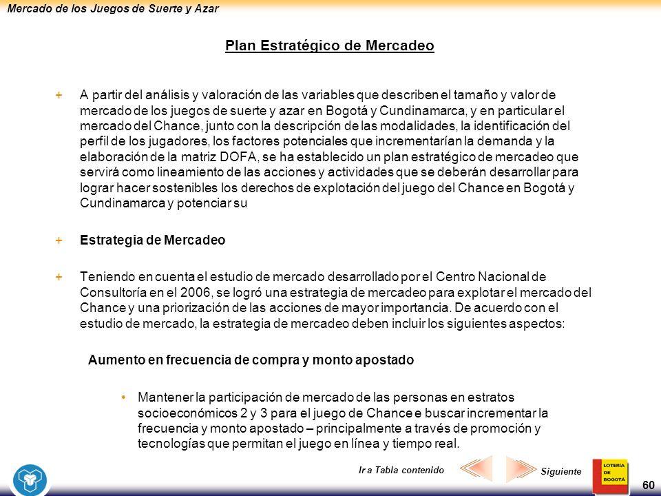 Mercado de los Juegos de Suerte y Azar 60 Plan Estratégico de Mercadeo +A partir del análisis y valoración de las variables que describen el tamaño y