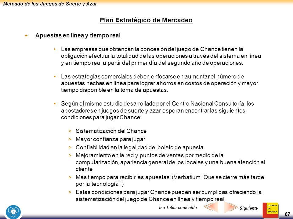 Mercado de los Juegos de Suerte y Azar 67 Plan Estratégico de Mercadeo +Apuestas en línea y tiempo real Las empresas que obtengan la concesión del jue