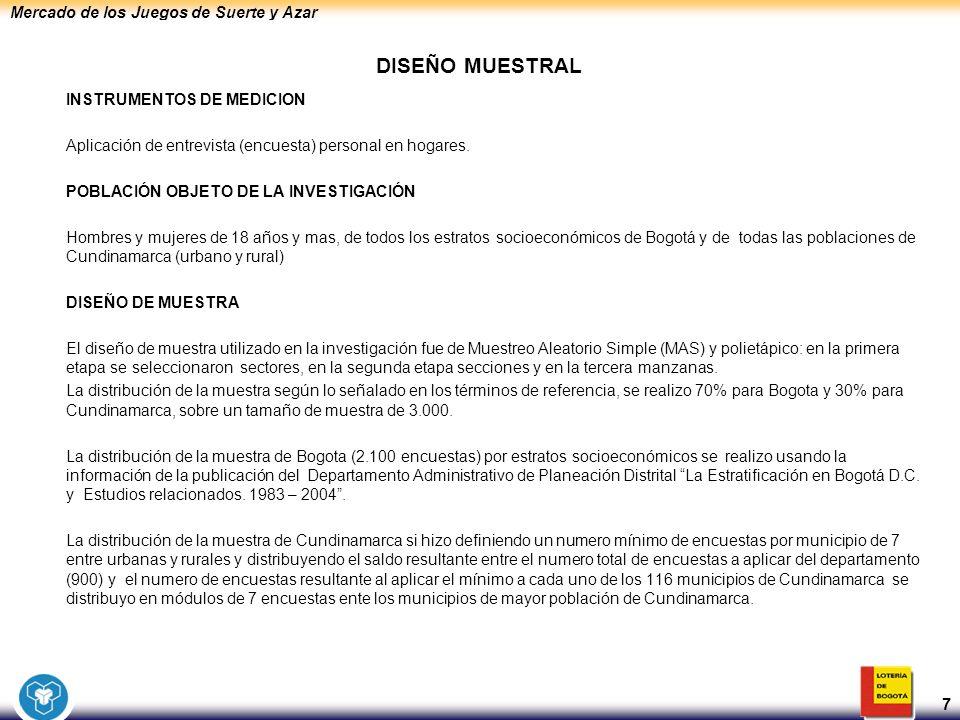 Mercado de los Juegos de Suerte y Azar 7 DISEÑO MUESTRAL INSTRUMENTOS DE MEDICION Aplicación de entrevista (encuesta) personal en hogares. POBLACIÓN O