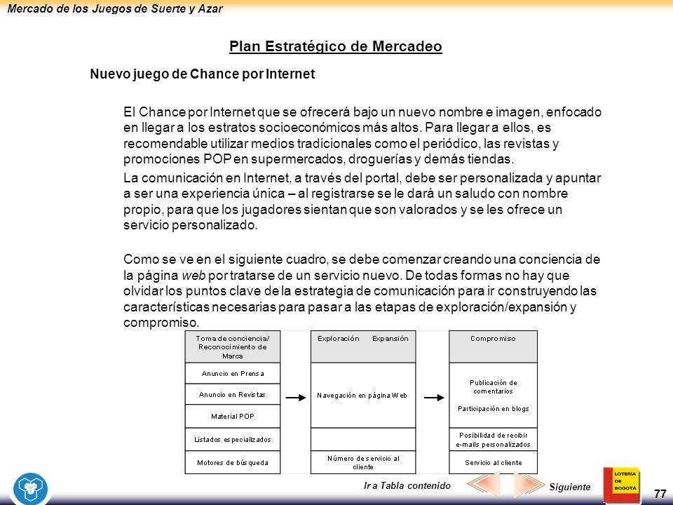 Mercado de los Juegos de Suerte y Azar 77 Plan Estratégico de Mercadeo Nuevo juego de Chance por Internet El Chance por Internet que se ofrecerá bajo