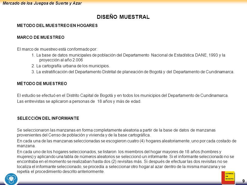 Mercado de los Juegos de Suerte y Azar 9 DISEÑO MUESTRAL METODO DEL MUESTREO EN HOGARES MARCO DE MUESTREO El marco de muestreo está conformado por: 1.