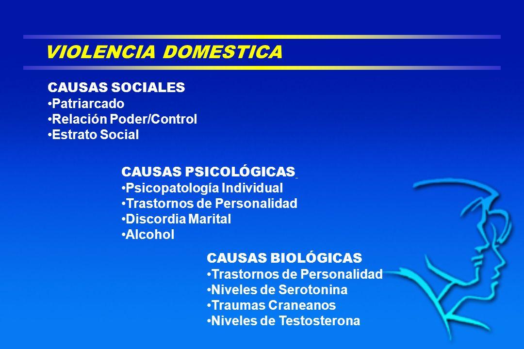 VIOLENCIA DOMESTICA CAUSAS SOCIALES Patriarcado Relación Poder/Control Estrato Social CAUSAS PSICOLÓGICAS Psicopatología Individual Trastornos de Pers