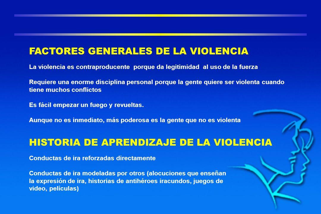 La violencia es contraproducente porque da legitimidad al uso de la fuerza Requiere una enorme disciplina personal porque la gente quiere ser violenta