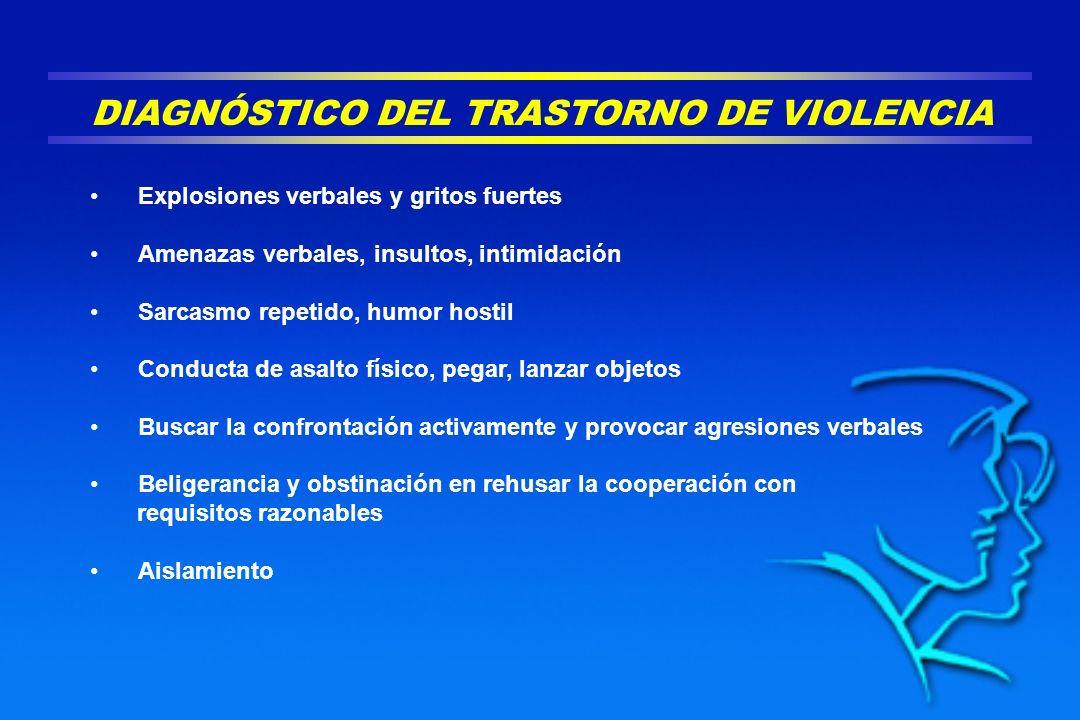 DIAGNÓSTICO DEL TRASTORNO DE VIOLENCIA Explosiones verbales y gritos fuertes Amenazas verbales, insultos, intimidación Sarcasmo repetido, humor hostil