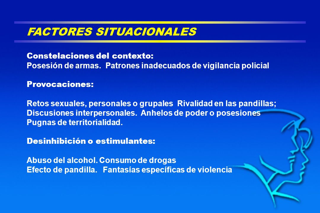 FACTORES SITUACIONALES Constelaciones del contexto: Posesión de armas. Patrones inadecuados de vigilancia policial Provocaciones: Retos sexuales, pers