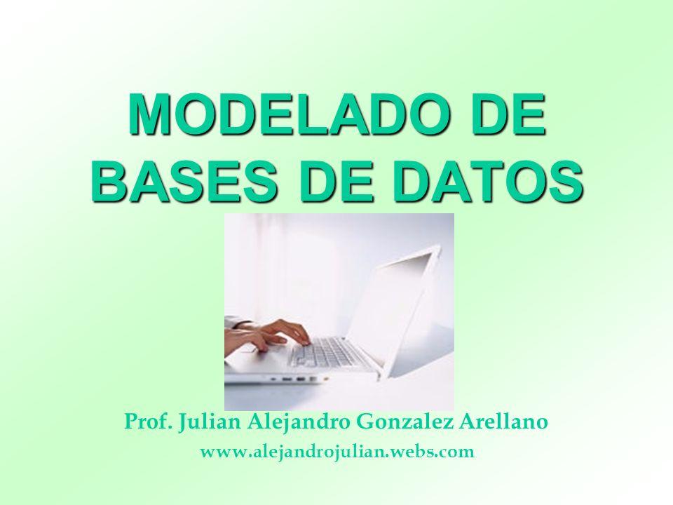 MODELADO DE BASES DE DATOS Prof. Julian Alejandro Gonzalez Arellano www.alejandrojulian.webs.com