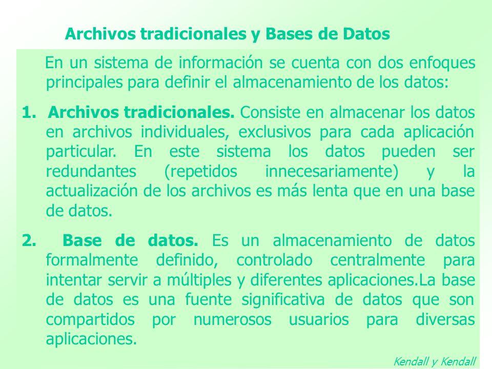 Archivos tradicionales y Bases de Datos En un sistema de información se cuenta con dos enfoques principales para definir el almacenamiento de los dato