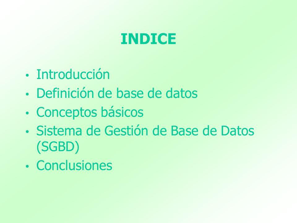 INDICE Introducción Definición de base de datos Conceptos básicos Sistema de Gestión de Base de Datos (SGBD) Conclusiones