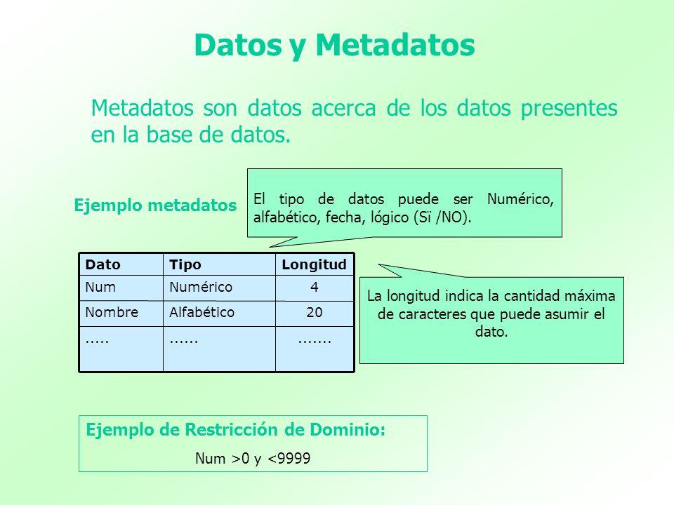 Datos y Metadatos Metadatos son datos acerca de los datos presentes en la base de datos................... 20AlfabéticoNombre 4NuméricoNum LongitudTip