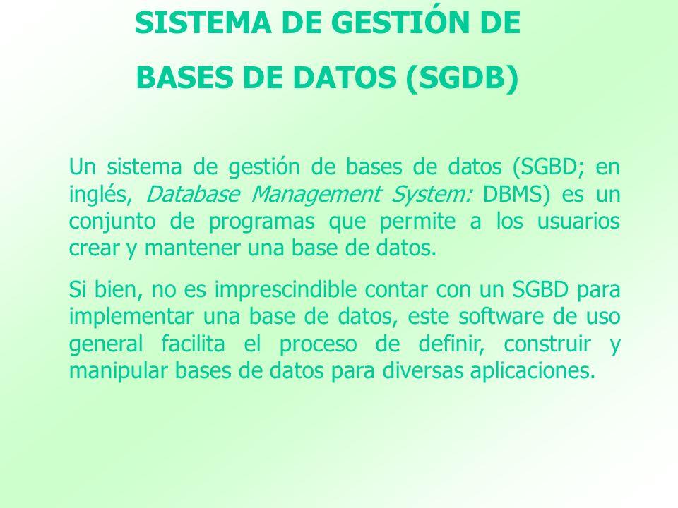 SISTEMA DE GESTIÓN DE BASES DE DATOS (SGDB) Un sistema de gestión de bases de datos (SGBD; en inglés, Database Management System: DBMS) es un conjunto
