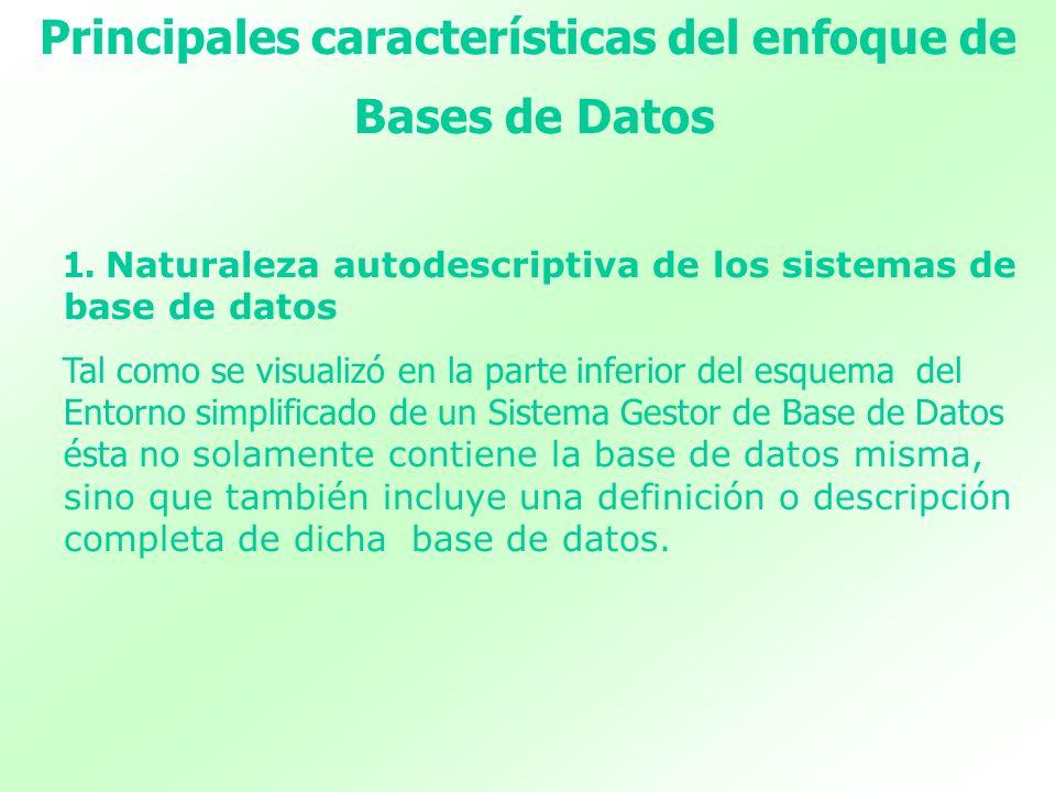 Principales características del enfoque de Bases de Datos 1. Naturaleza autodescriptiva de los sistemas de base de datos Tal como se visualizó en la p