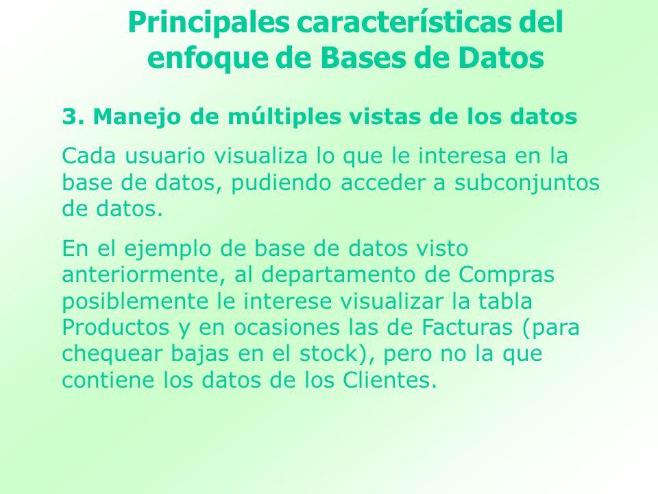 3. Manejo de múltiples vistas de los datos Cada usuario visualiza lo que le interesa en la base de datos, pudiendo acceder a subconjuntos de datos. En