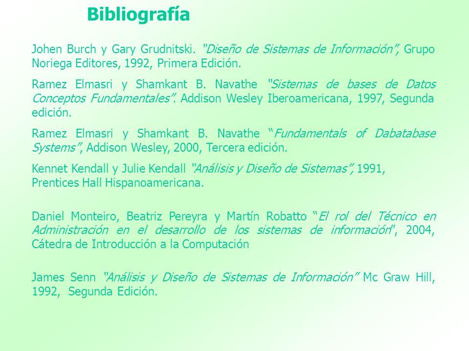 Johen Burch y Gary Grudnitski. Diseño de Sistemas de Información, Grupo Noriega Editores, 1992, Primera Edición. Ramez Elmasri y Shamkant B. Navathe S