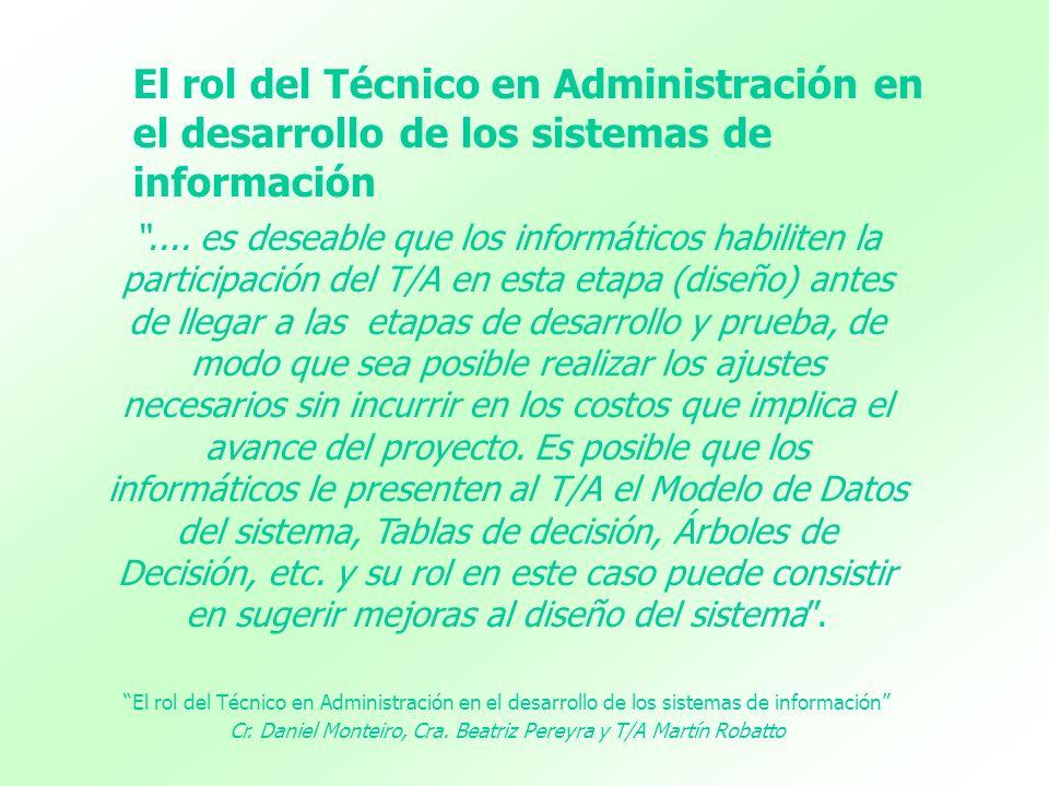 .... es deseable que los informáticos habiliten la participación del T/A en esta etapa (diseño) antes de llegar a las etapas de desarrollo y prueba, d