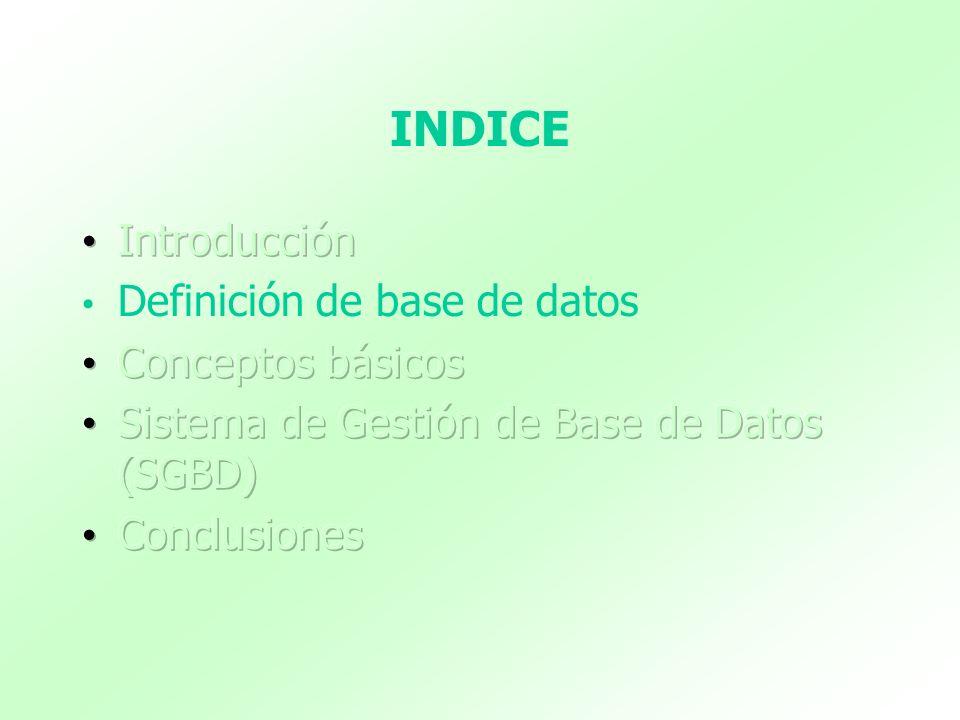 DEFINICIÓN DE BASE DE DATOS (1) Base de Datos es un conjunto de datos relacionados entre sí y que tienen un significado implícito.