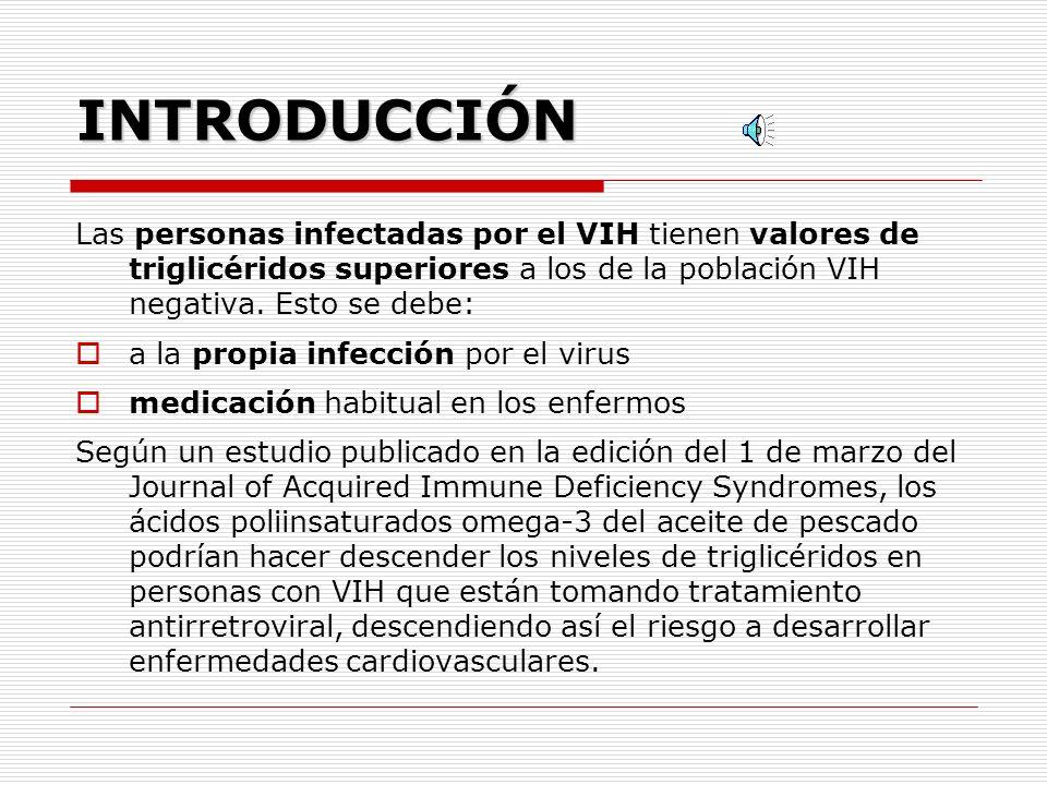 ACEITE DE PESCADO Y TRIGLICÉRIDOS EN PERSONAS CON VIH Introducción Revisión bibliográfica Material y métodos Resultados Discusión Conclusiones y recom