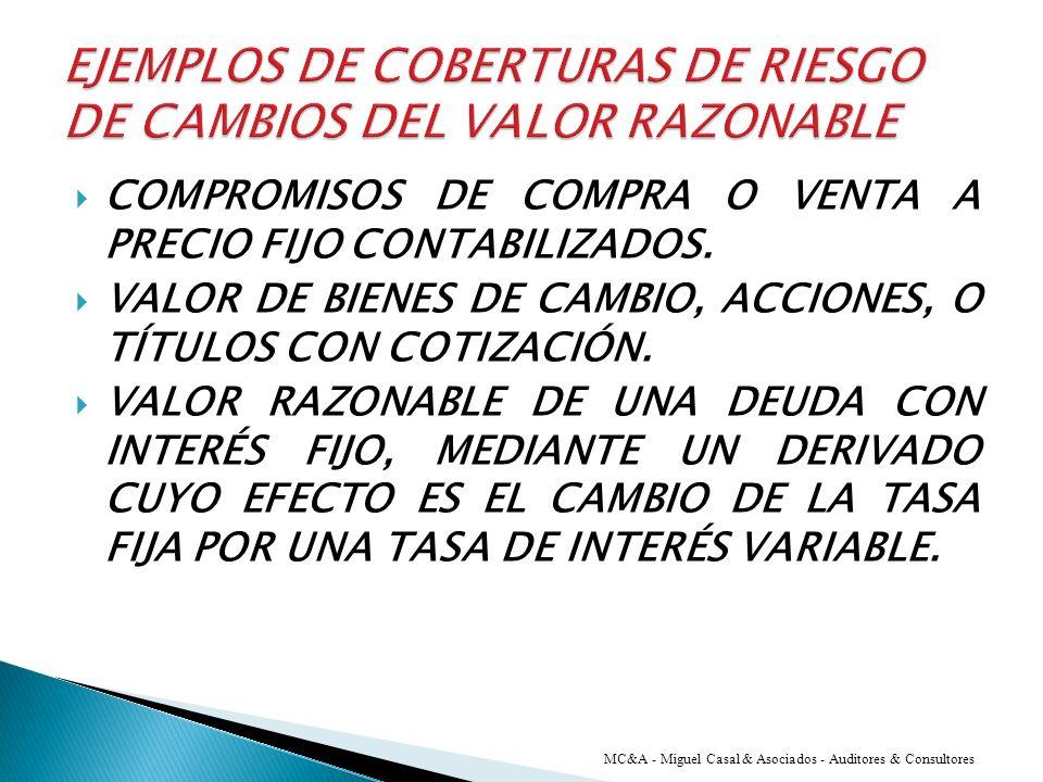 LA CONTABILIDAD DE COBERTURA RECONOCE LOS EFECTOS DE LA COMPENSACIÓN QUE LOS CAMBIOS EN EL VALOR RAZONABLE DEL INSTRUMENTO DE COBERTURA Y DEL ELEMENTO