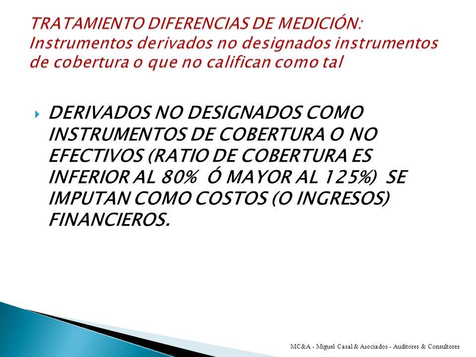 COBERTURA EFICAZ: EN PATRIMONIO NETO COBERTURA INEFICAZ: EN RESULTADOS DEL EJERCICIO. MC&A - Miguel Casal & Asociados - Auditores & Consultores