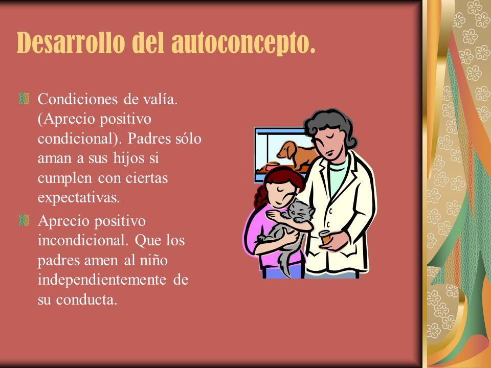 Desarrollo del autoconcepto. Condiciones de valía. (Aprecio positivo condicional). Padres sólo aman a sus hijos si cumplen con ciertas expectativas. A