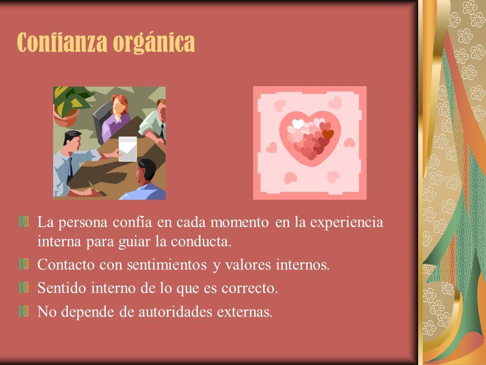 Confianza orgánica La persona confía en cada momento en la experiencia interna para guiar la conducta. Contacto con sentimientos y valores internos. S