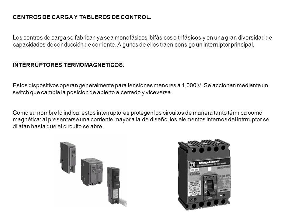 CENTROS DE CARGA Y TABLEROS DE CONTROL. Los centros de carga se fabrican ya sea monofásicos, bifásicos o trifásicos y en una gran diversidad de capaci