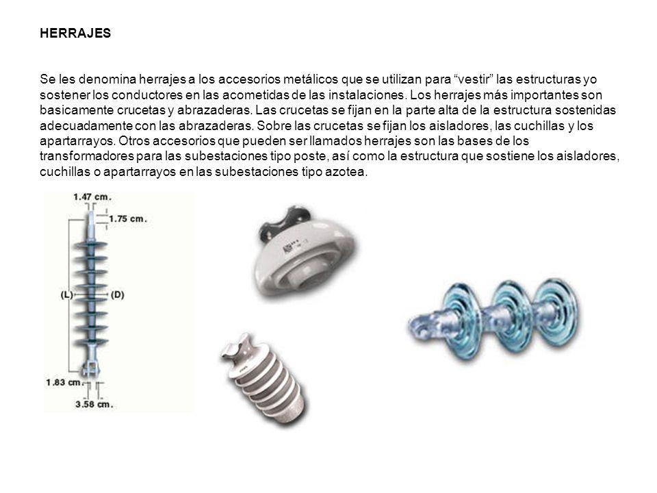 HERRAJES Se les denomina herrajes a los accesorios metálicos que se utilizan para vestir las estructuras yo sostener los conductores en las acometidas