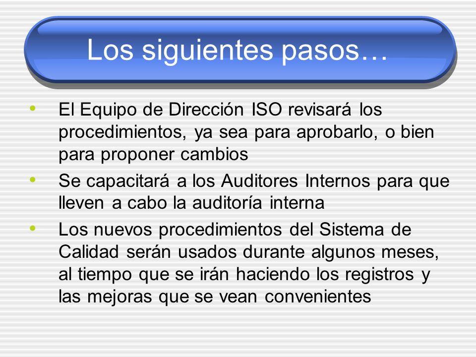 Los siguientes pasos… El Equipo de Dirección ISO revisará los procedimientos, ya sea para aprobarlo, o bien para proponer cambios Se capacitará a los