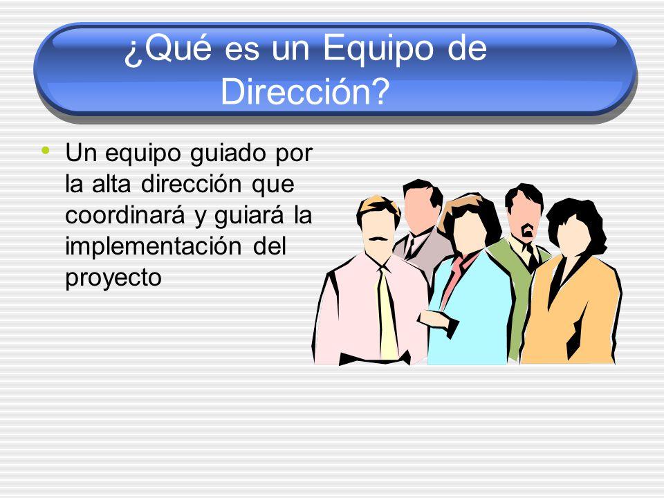 ¿Qué es un Equipo de Dirección? Un equipo guiado por la alta dirección que coordinará y guiará la implementación del proyecto