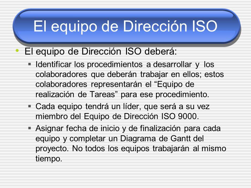 El equipo de Dirección ISO El equipo de Dirección ISO deberá: Identificar los procedimientos a desarrollar y los colaboradores que deberán trabajar en
