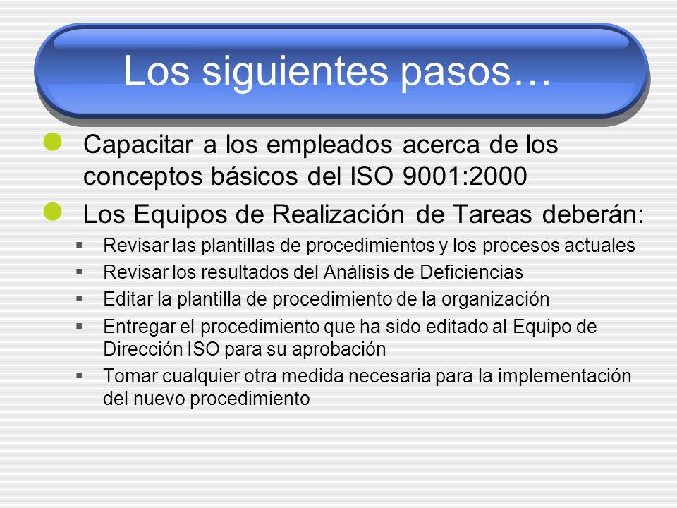 Los siguientes pasos… Capacitar a los empleados acerca de los conceptos básicos del ISO 9001:2000 Los Equipos de Realización de Tareas deberán: Revisa