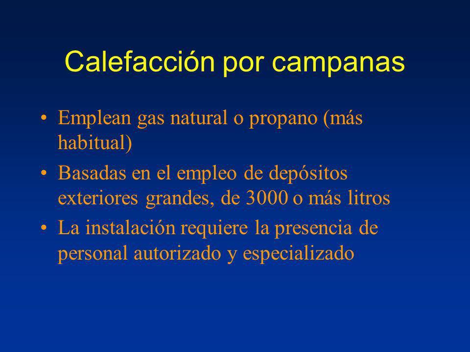 Calefacción por campanas Emplean gas natural o propano (más habitual) Basadas en el empleo de depósitos exteriores grandes, de 3000 o más litros La in