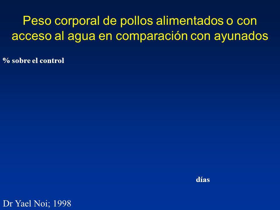 Peso corporal de pollos alimentados o con acceso al agua en comparación con ayunados % sobre el control Dr Yael Noi; 1998 días