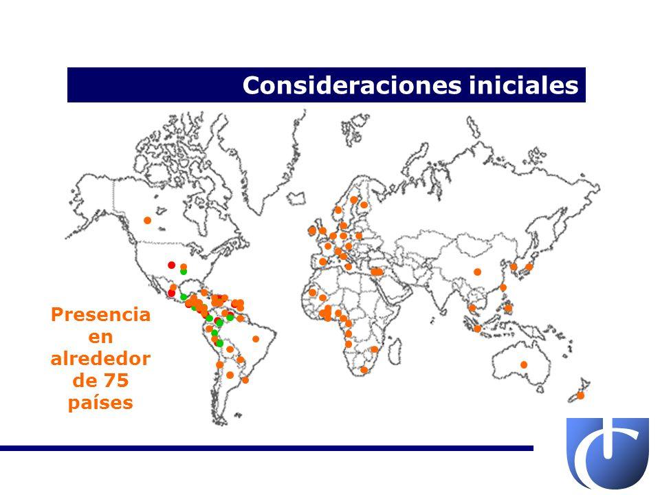 Consideraciones iniciales 44 compañías Plantas en: Colombia, Costa Rica (5), Estados Unidos, México, Perú, Panamá, República Dominicana y Venezuela Distribuciones en 12 países de América Exportaciones a 75 países del mundo USD 2,4 billones de ingreso consolidado (2010) USD 7,3 billones capital bursátil (2010)