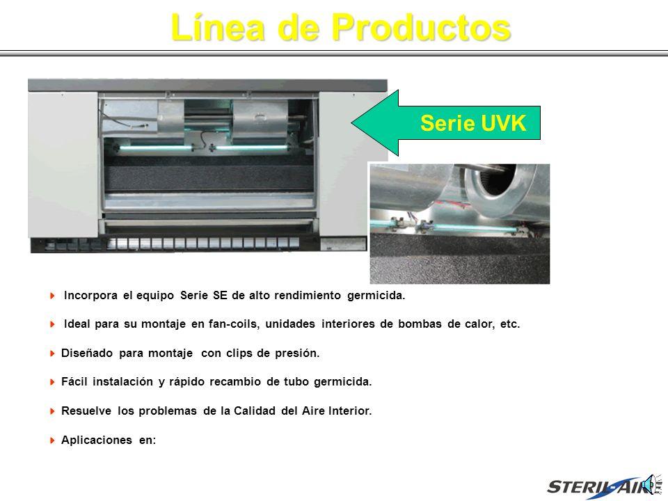 Línea de Productos Incorpora el equipo Serie SE de alto rendimiento germicida. Ideal para su montaje en fan-coils, unidades interiores de bombas de ca