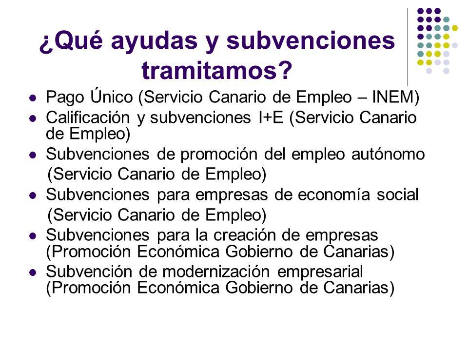 ¿Qué ayudas y subvenciones tramitamos? Pago Único (Servicio Canario de Empleo – INEM) Calificación y subvenciones I+E (Servicio Canario de Empleo) Sub