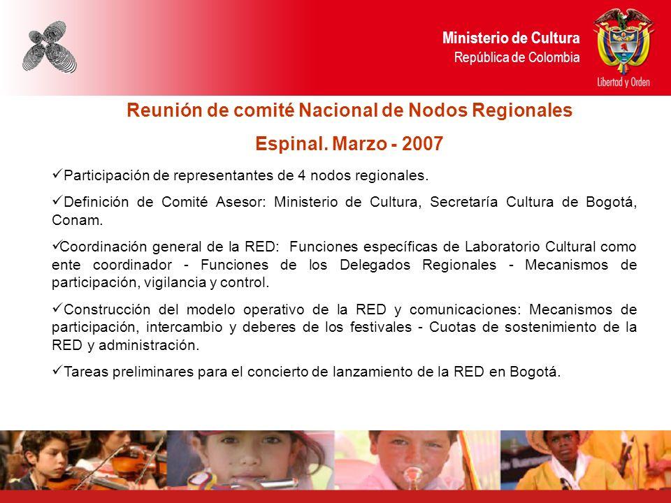Ministerio de Cultura República de Colombia Reunión de comité Nacional de Nodos Regionales Espinal.