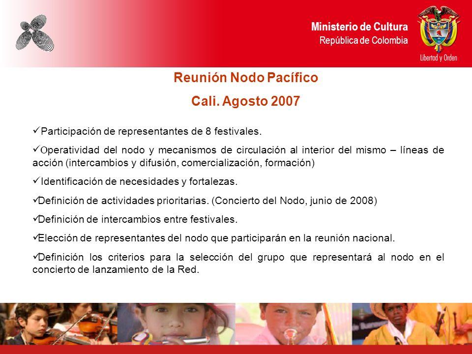 Ministerio de Cultura República de Colombia Reunión Nodo Pacífico Cali.
