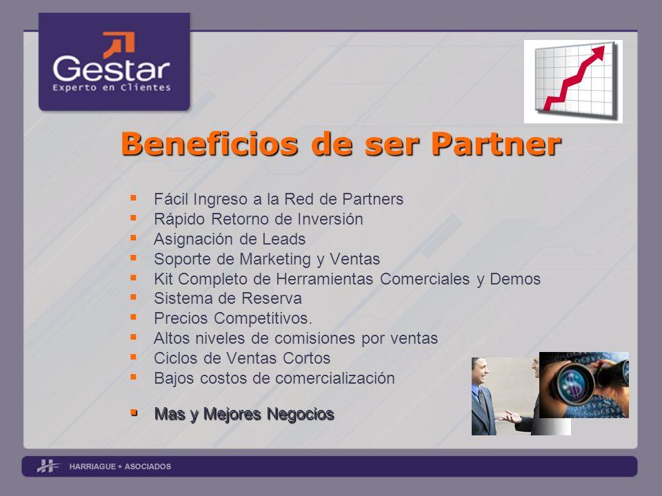 Beneficios de ser Partner Fácil Ingreso a la Red de Partners Rápido Retorno de Inversión Asignación de Leads Soporte de Marketing y Ventas Kit Complet