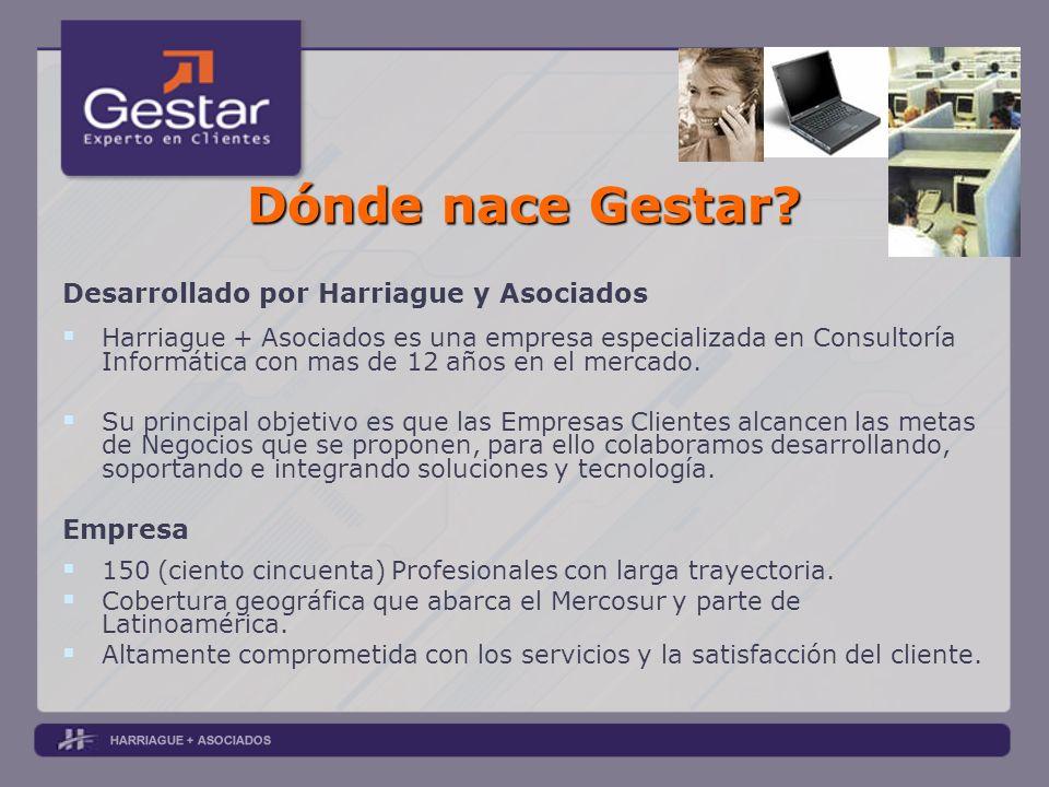 Dónde nace Gestar? Desarrollado por Harriague y Asociados Harriague + Asociados es una empresa especializada en Consultoría Informática con mas de 12