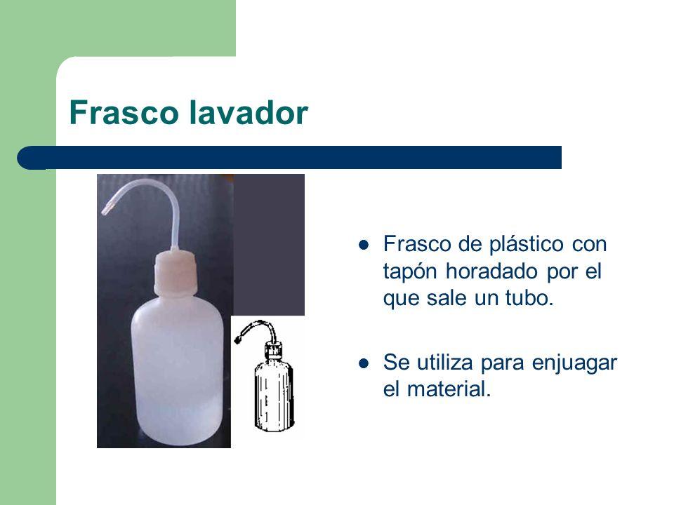 Frasco lavador Frasco de plástico con tapón horadado por el que sale un tubo. Se utiliza para enjuagar el material.