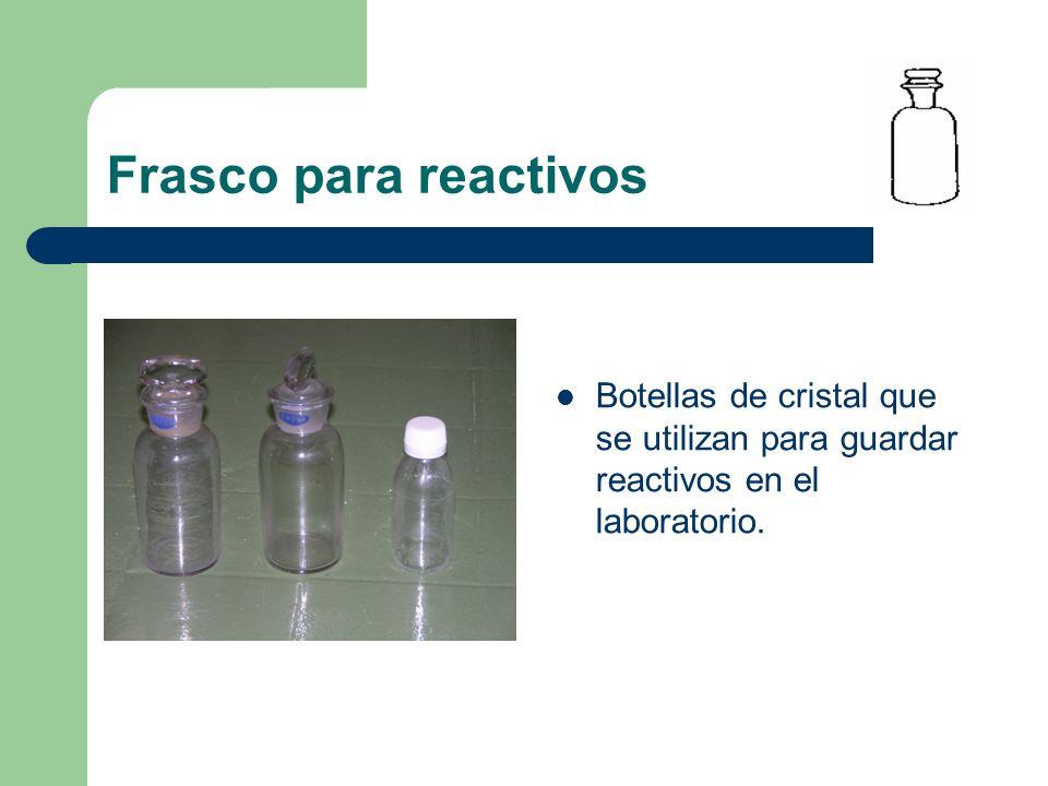 Frasco para reactivos Botellas de cristal que se utilizan para guardar reactivos en el laboratorio.