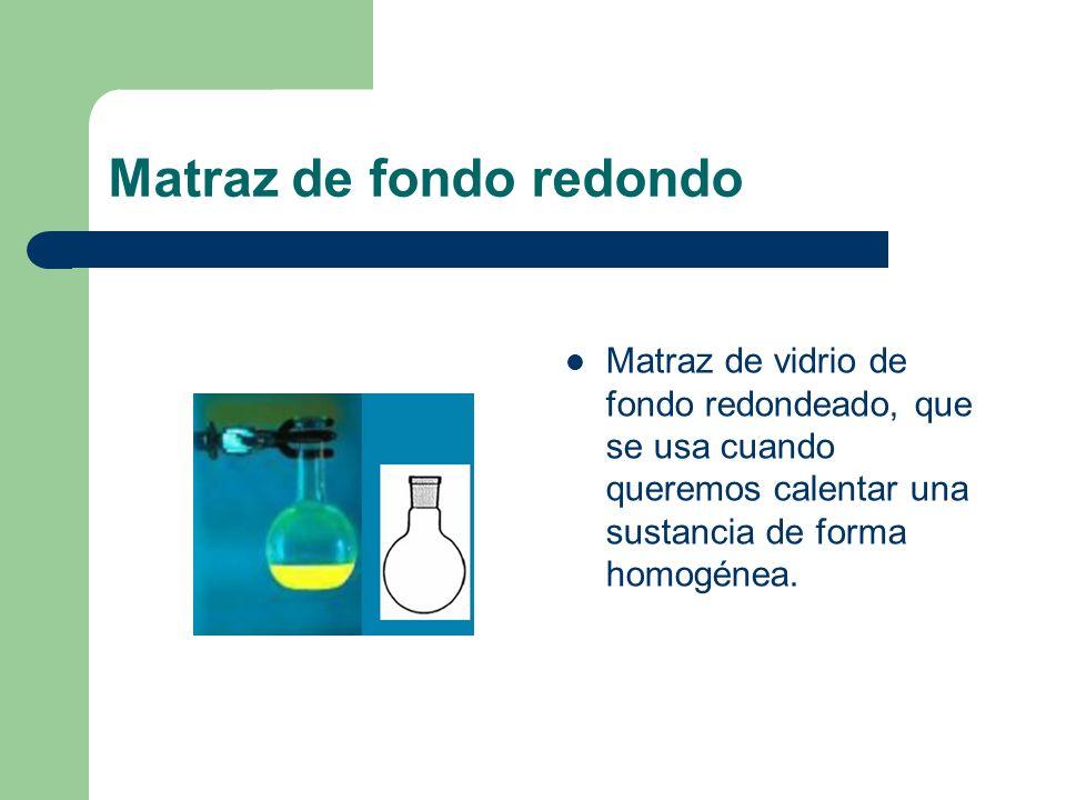 Matraz de fondo redondo Matraz de vidrio de fondo redondeado, que se usa cuando queremos calentar una sustancia de forma homogénea.