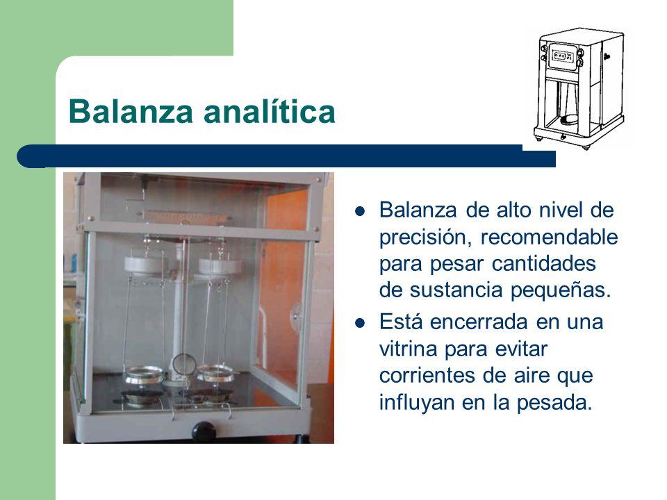 Balanza analítica Balanza de alto nivel de precisión, recomendable para pesar cantidades de sustancia pequeñas. Está encerrada en una vitrina para evi