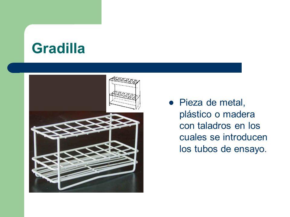 Gradilla Pieza de metal, plástico o madera con taladros en los cuales se introducen los tubos de ensayo.