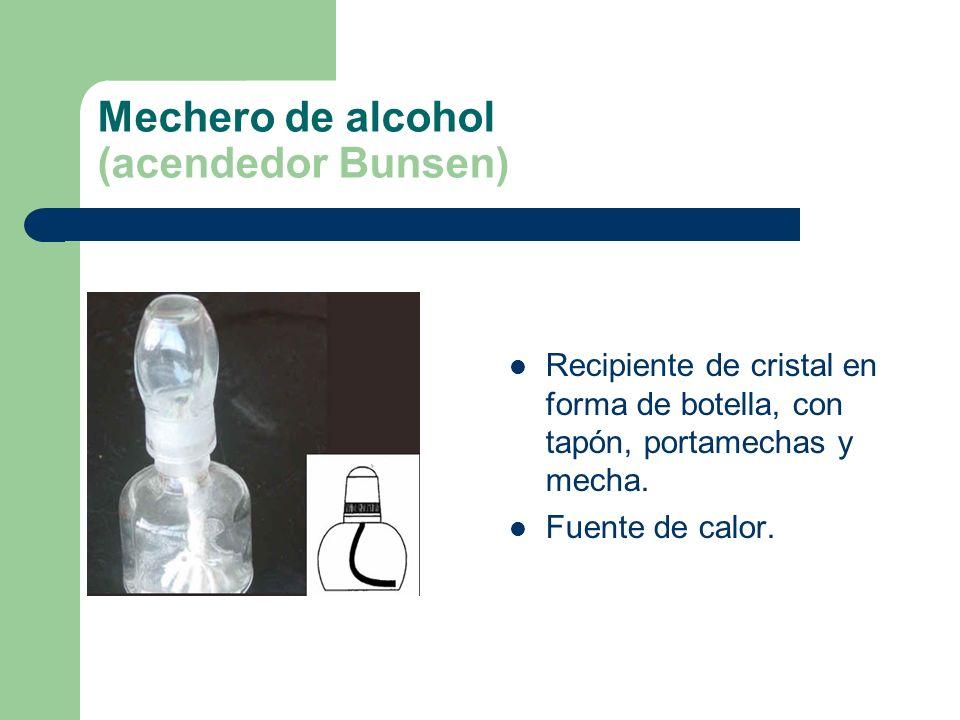 Mechero de alcohol (acendedor Bunsen) Recipiente de cristal en forma de botella, con tapón, portamechas y mecha. Fuente de calor.