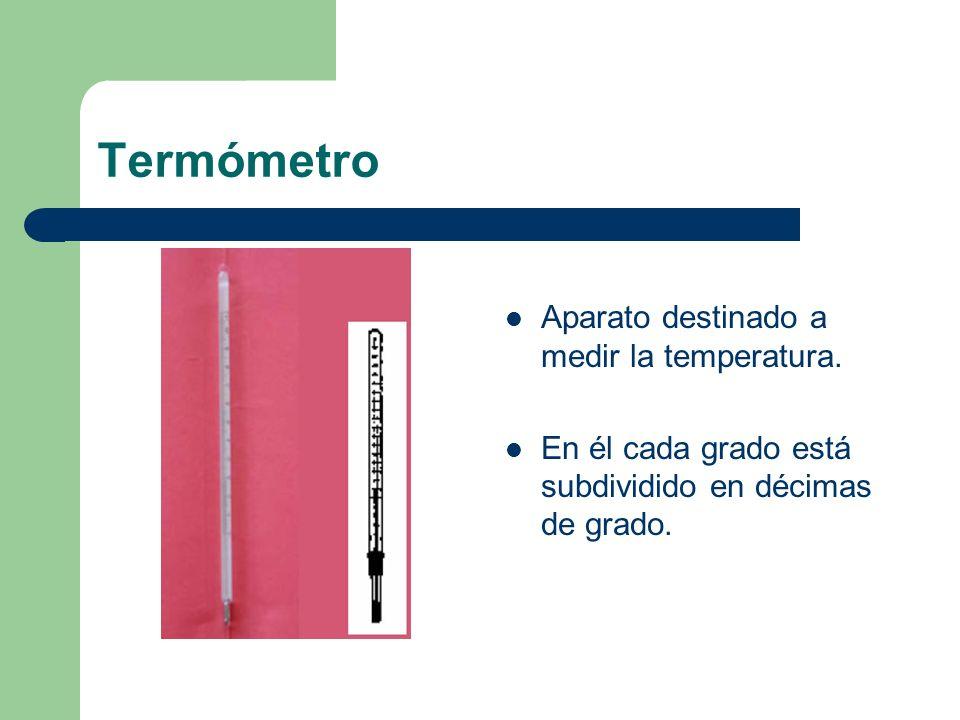 Termómetro Aparato destinado a medir la temperatura. En él cada grado está subdividido en décimas de grado.