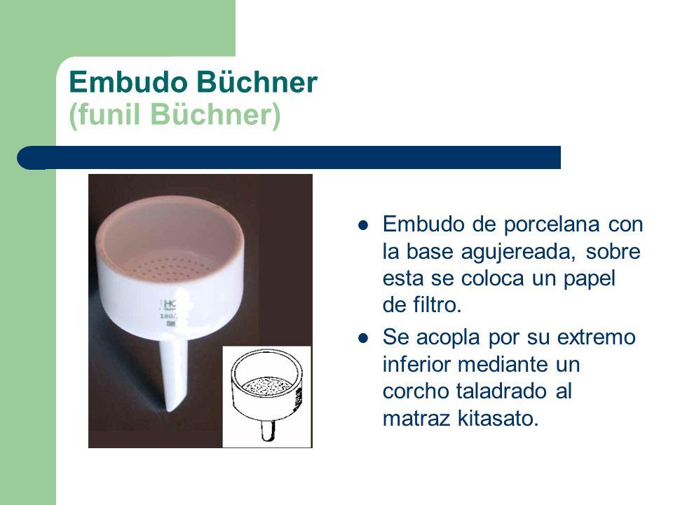 Embudo Büchner (funil Büchner) Embudo de porcelana con la base agujereada, sobre esta se coloca un papel de filtro. Se acopla por su extremo inferior